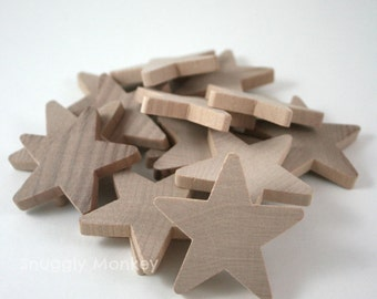 2 inch Wooden Stars (25 Pk) - Unfinished Wood Star Embellishments