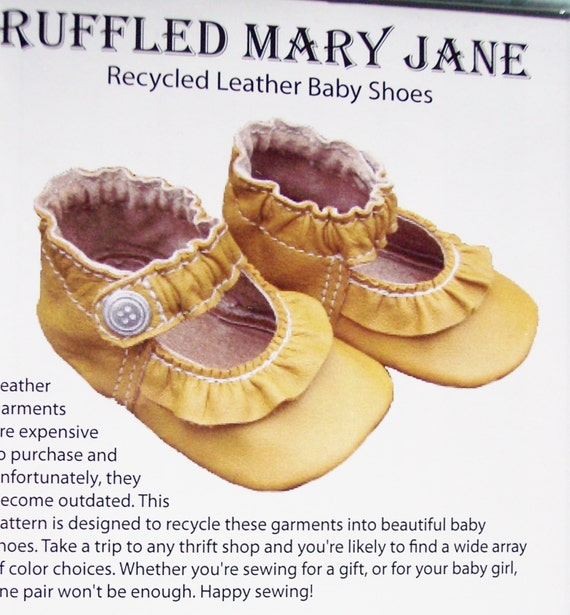 Ruffled Mary Jane Baby Shoe pattern for recycled leather