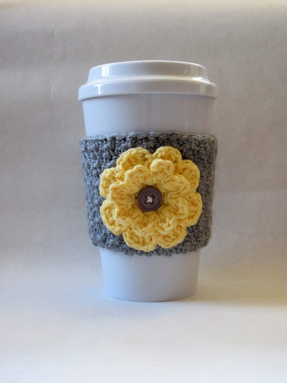 Crochet Flower Coffee Cup Cozy Gray and by TheEnchantedLadybug
