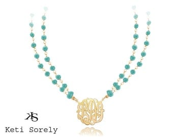 Turquoise Gemstone Beaded Necklace with Monogram Initials (Order Any Initials) - Double String Turquoise Necklace