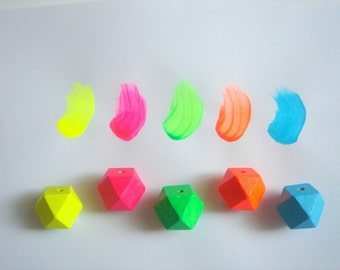 Neon  Geometric Wood Beads,Hand Painted wood Beads,  Geometric Jewelry,Do it Yourself Geometric necklace