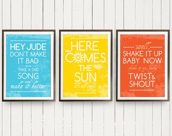Beatles Group Trio Posters Music Hey Jude, Here Comes the Sun and Twist and Shout Beatles Posters Music Art - A3 size Posters Music art