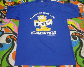 Vintage 80s Baltimore Highlands Elementary GARFIELD WE'RE #1 comic T-Shirt Jim Davis shirt 1970s shirt