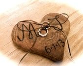 Ring Bearer Pillow - Heart Ring Bearer - Wedding Ring Bearer Pillow - Rustic Ring Bearer - Heart Ring Bearer - Wooden Ring Bearer