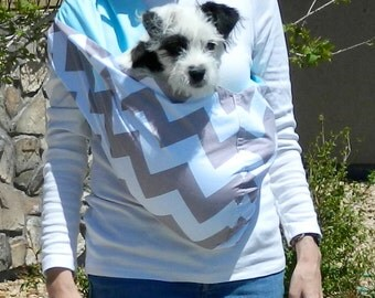 Reversible Pet Sling - Chevron Gray and Turquiose for Dogs and Cats
