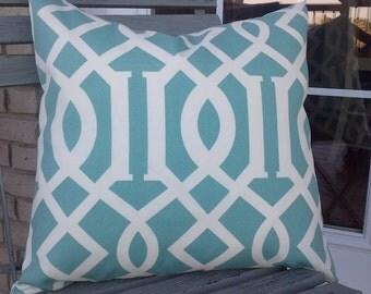 Pair of Outdoor Trellis aqua pilllow Cover, Throw Pillow Decorator Pillow pair