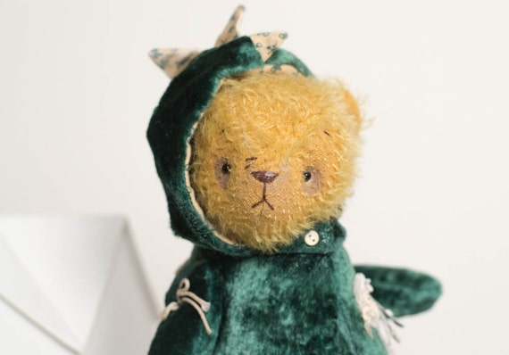 Artist Teddy Bears - Green Teddy Bear Dragon Pavel - Stuffed Animal - Soft Toy - Yellow Mohair Bear
