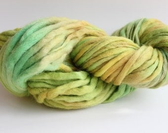 Kiwi/ Emerald Green Multi Color Hand Spun, Hand Dyed  Thick and Thin   Super Chunky Wool Yarn