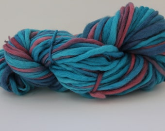 Turquoise / Pink  Multi Color Hand Spun, Hand Dyed  Thick and Thin   Super Chunky Wool Yarn