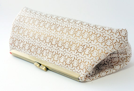 Romantic Ivory & Gold Lace Bridal Clutch Purse - Bridesmaid, Wedding, Evening Handbag - Includes Crossbody Chain  - Made to Order