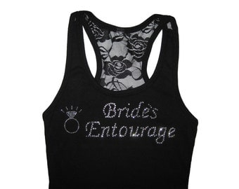 Bride's Entourage. Bachelorette Party Shirts. Bride Lace Tank Top Shirt. Will You Be My Bridesmaid. Just Married. Engaged. Wedding Tank Tops