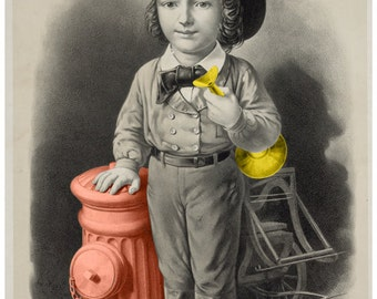 The Littlest Fireman, Vintage Art Colorized 8x12, Baby's Room, Nursury Art or gift