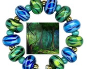 Lampwork Glass Beads Blue Green Aqua Lime Turquoise Mint Wave Beads