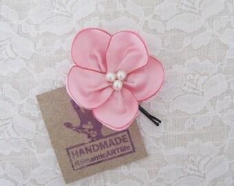 Blush Pink Flower Hair Accessory. Soft Pink Flower Hair Pin. Fabric Flower Hair Piece. Wedding Accessory. Bridesmaid Hair Flower.