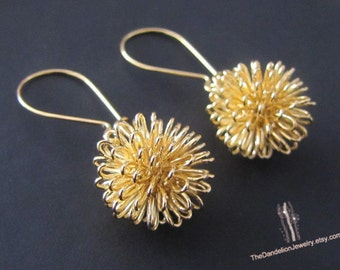 Dandelion Earrings, Dangle Earrings, Drop Earrings, Jewelry, Gift