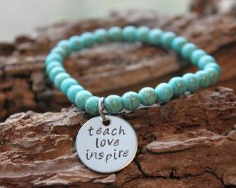 Teacher Hand Stamped Gemstone Bracelet - great teacher gift, hand stamped gemstone bracelet