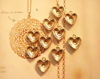 10 Vintage Goldplated 14mm Hearts with 3mm Setting