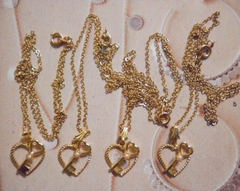 """4 Vintage Goldplated """"Heart with a Key"""" on 18"""" Chains"""