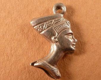 vintage sterling silver charm Nefertiti Queen of Egypt  Double Faced Bracelet charms Old pendant jewelry