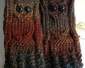 Owl Wrist Warmers, fingerless gloves, Choose your color