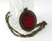 Red Rose on Black Victorian Cameo Necklace