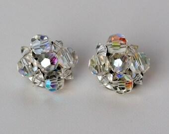 Vintage Crystal Cluster Clip On Earrings