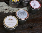 Baby Shower Favors Soy Candle Tin, Sprinkle Shower, Baby Shower, Personalized by Veris SAMPLE
