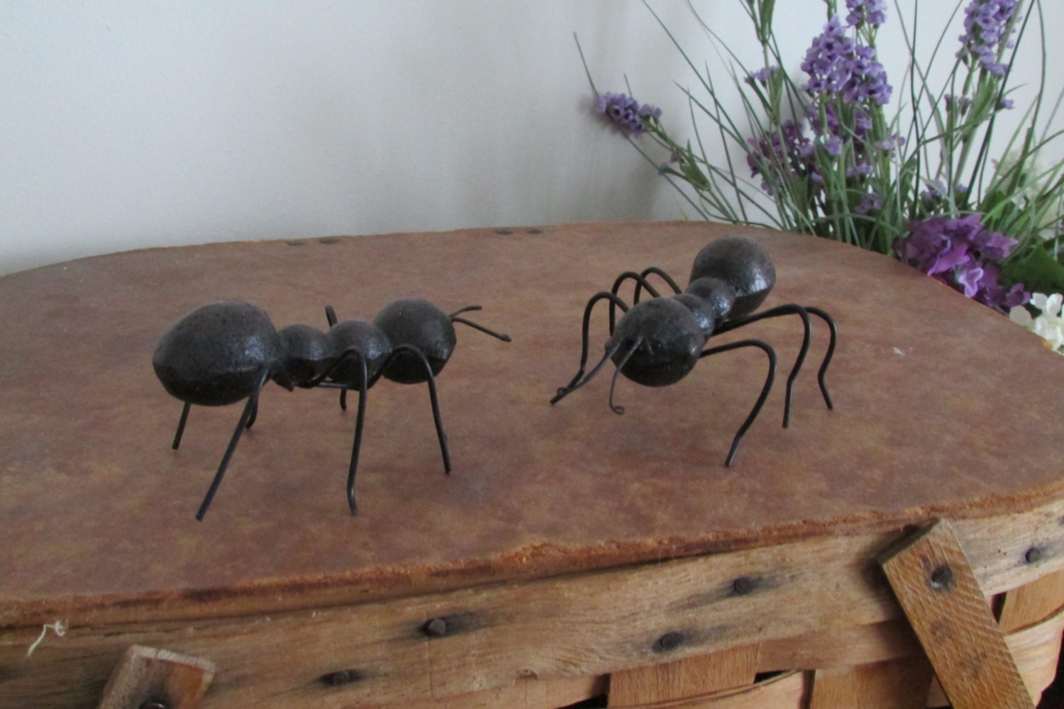 Two cast metal black ants picnic home amp wedding by vintageabcs
