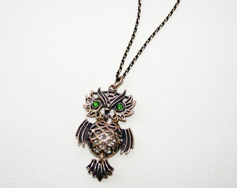 Wise Owl Necklace with Swarovski Crystal in Bronze, Owl Jewelry
