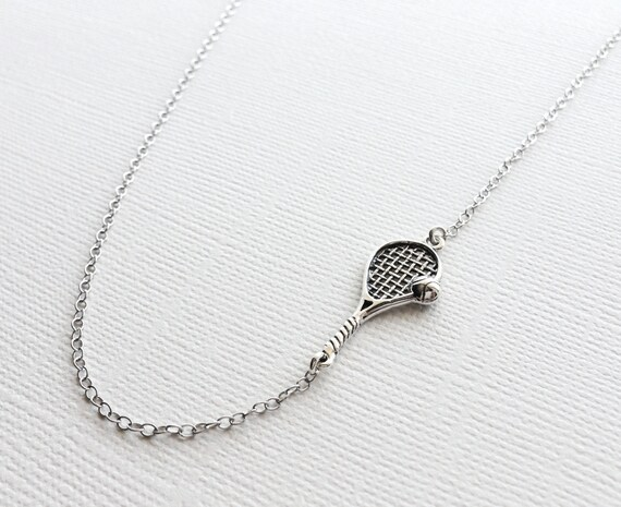 Tennis racket necklace in sterling silver tennis charm like this item mozeypictures Choice Image