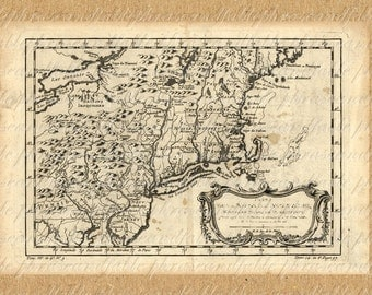 Map Of New England From The 1700s 188 Digital Image Download America Maine New Hampshire Vermont Massachusetts Rhode Island Connecticut
