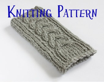 Instant Download PDF Knitting Pattern - iPhone 5 Sock, Cable Pattern Phone Case, iPhone Sleeve DIY Knit Instructions