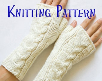 Instant Download PDF Knitting Pattern - Cabled Fingerless Gloves, Cabled Fingerless Mittens, Arm Warmers