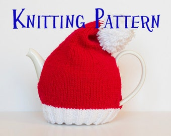 Download PDF Knitting Pattern - Santa Hat Tea Cozy, DIY Knit Tea Cosy