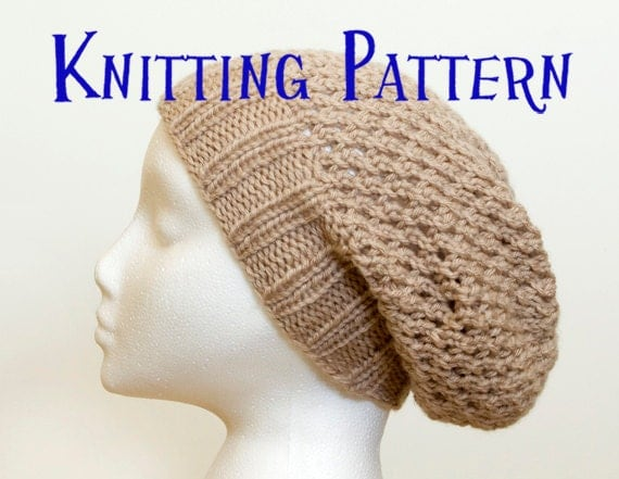 Knitting Pattern For Childs Beanie Hat : PDF Knitting Pattern Childs Lace Slouchy Beanie Kids