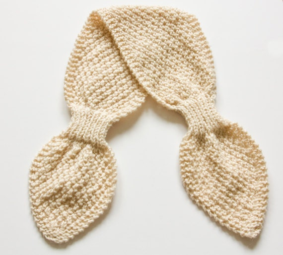 Instant Download PDF Knitting Pattern - Bow Knot Scarflette, Tuck In Scarf, B...