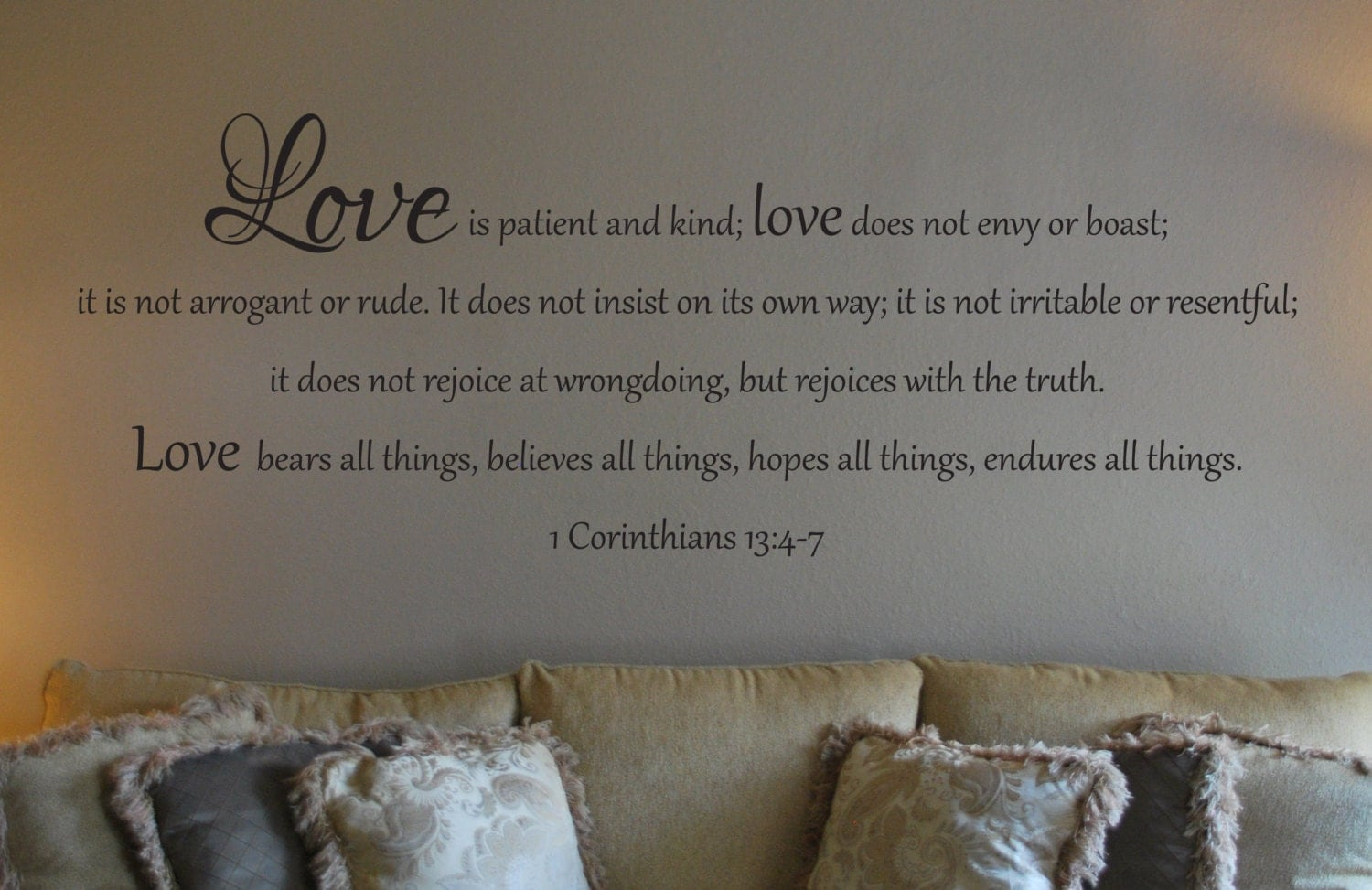 wall decal of 1 corinthians 13 4 7. Black Bedroom Furniture Sets. Home Design Ideas