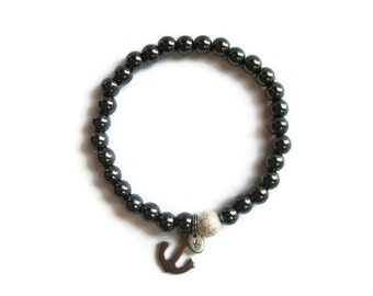 Nautical Anchor Personalized Hematite Beaded Stretch Bracelet
