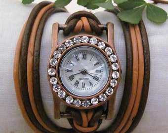 Leather Wrap Woman Watch - Handmade Orlogin's Style Bracelet Crystal Watch FREE SHIPPING