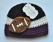 Football Beanie - Black, White & Purple Baby Football Hat ( newborn gift preemie hat newborn costume babyshower newborn beanie baby hats )