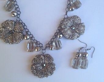 Gunmetal Flower Statement Necklace- One of a Kind Original- Designs by Stalinda
