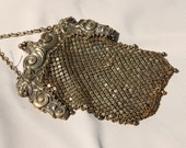 Reserved Lion Head Antique Sterling Silver Filigree Mesh Purse