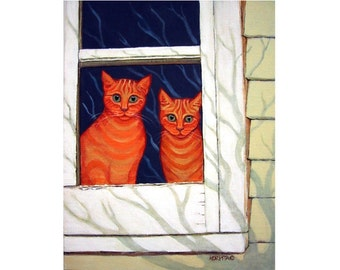 Cats in Window, Orange Cat Art, Ginger Cat Art, Whimsical Cat Art, Funny Cat Art, Cat Print, Cat Painting, KORPITA