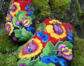 Felted Slippers - Colored Summer size EU40