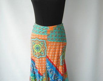 Vintage Ralph Lauren Cotton Linen blend Skirt in Multi Print