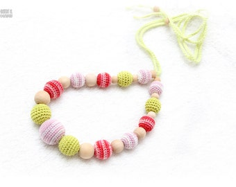 Nursing necklace,Teething necklace -coral, baby pink, spring green - babywearing, baby shower gift, baby teether