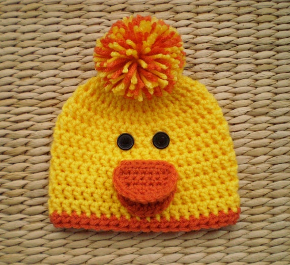Duck Hat Duck Beanie Baby Easter Hat Spring Hat Baby Hats