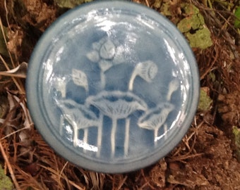Vintage Floral Glazed Trinket Covered Bowl Gardener's Ring Bowl