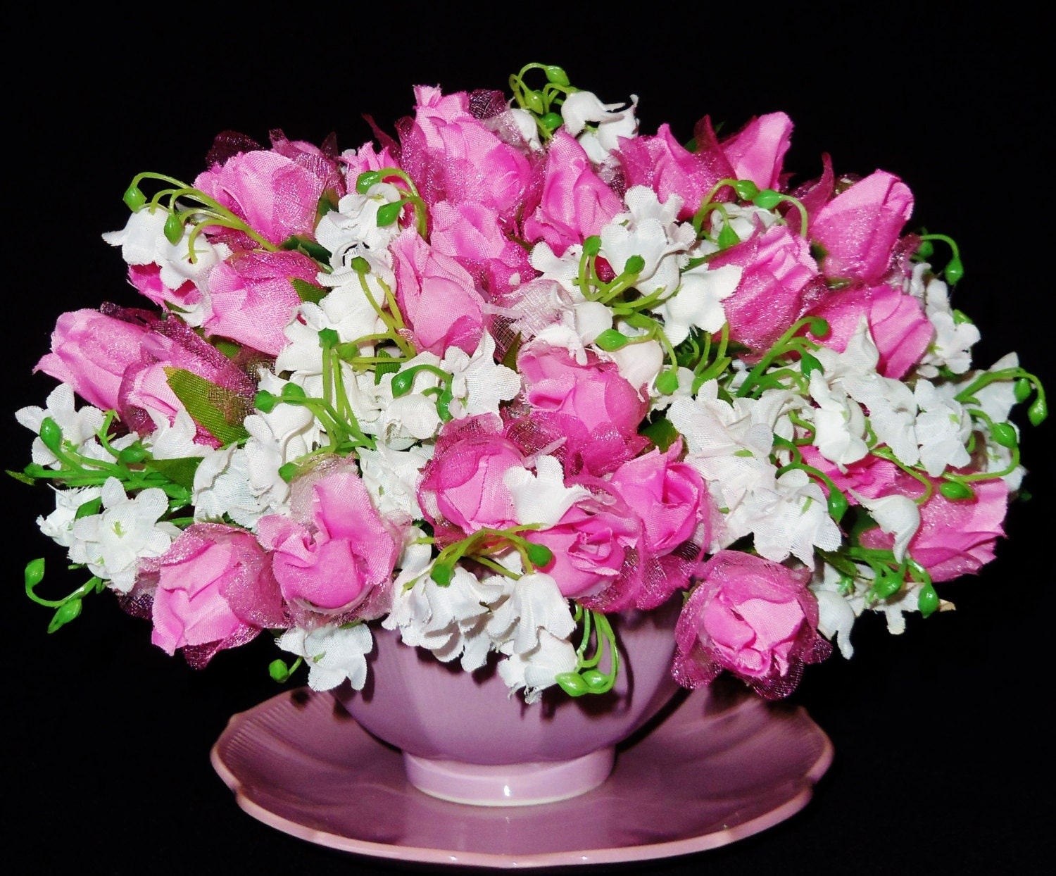 silk flower arrangement pink roses white lilies of the