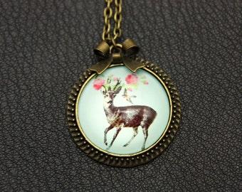 Necklace deer flowers 2525C